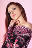Beautiful Woman On Pink Background Royalty Free Stock Image