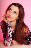 Beautiful Woman On Pink Background Royalty Free Stock Photography