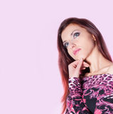 Beautiful Woman On Pink Background Stock Photos