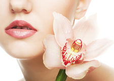 Beautiful woman with pink flower Stock Photo