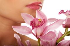 Beautiful woman with pink flower. Stock Images
