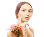 Beautiful woman with pink flowers Royalty Free Stock Photography