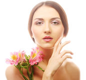 Beautiful woman with pink flowers Royalty Free Stock Photo