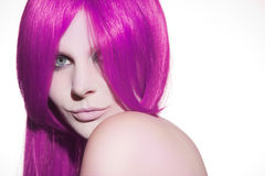 Beautiful woman with pink hair Stock Images