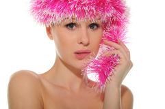 Beautiful woman in pink hat. Isolated on white Stock Photos