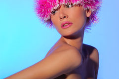 Beautiful woman in pink hat Royalty Free Stock Photos