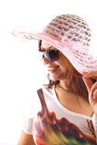 Beautiful woman in pink hat Stock Photography