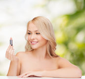 Beautiful woman with pink lipstick Royalty Free Stock Photography