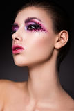 Beautiful woman with pink make up Stock Image