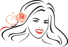Beautiful woman with pink rose in her hair. Contour portrait Royalty Free Stock Photo