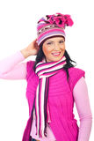 Beautiful woman in pink winter clothes Stock Image