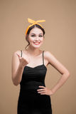 Beautiful woman pinup style portrait. Asian woman hands gesture Stock Photography