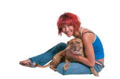 Beautiful Woman and Pit Bull mix dog Stock Photos