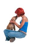 Beautiful Woman and Pit Bull mix dog Royalty Free Stock Photo