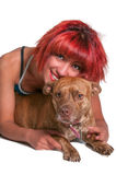 Beautiful Woman and Pit Bull mix dog Stock Photo