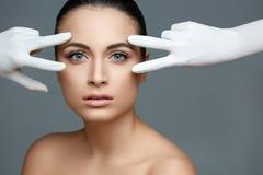 Beautiful Woman before Plastic Surgery Operation Cosmetology. Be stock image