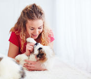 Beautiful woman playing with cute caucasian shepherd puppies Stock Photos