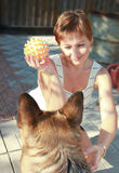 Beautiful woman playing with dog Stock Images
