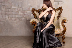 Beautiful woman playing with her hair royalty free stock photos