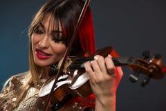 Beautiful Woman Playing The Violin Stock Photos