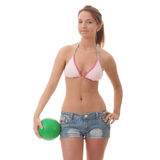 Beautiful woman playing volleyball Stock Photos