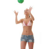 Beautiful woman playing volleyball Royalty Free Stock Photos