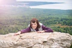 Beautiful woman pleasure wanderlust mindfulness hiking  mountain sunshine Zyuratkul Chelyabinsk Russia. Royalty Free Stock Photography