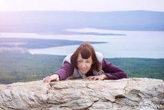 Beautiful woman pleasure wanderlust mindfulness hiking mountain sunshine Zyuratkul Chelyabinsk Russia. stock photography