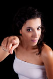 Beautiful woman pointing Royalty Free Stock Photography