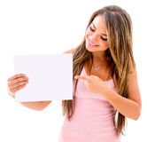 Woman pointing at a banner Stock Photos