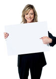 Beautiful woman pointing at the blank billboard Royalty Free Stock Images