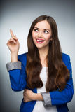 Beautiful woman pointing finger Stock Photo