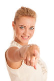 Beautiful woman pointing index finger Stock Images
