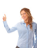 Beautiful woman pointing at something Royalty Free Stock Photography
