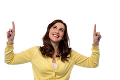 Beautiful woman pointing up Royalty Free Stock Photo