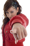Beautiful woman pointing you Stock Photo