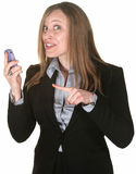 Beautiful Woman Points to Phone Stock Images