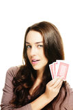 Beautiful woman with poker cards Stock Photos