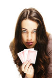 Beautiful woman with poker cards Royalty Free Stock Images