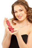 Beautiful woman with poker chips Royalty Free Stock Images