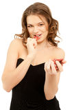 Beautiful woman with poker chips Stock Photos