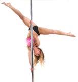 Beautiful woman pole dancing Stock Image
