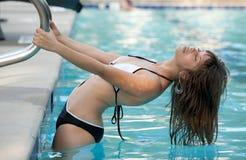 Beautiful Woman In Pool Stock Photo