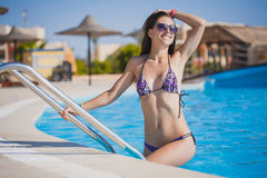 Beautiful, woman in pool Royalty Free Stock Photography