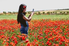 Beautiful woman with poppies royalty free stock photo