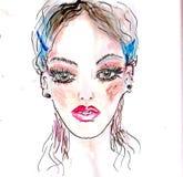 Beautiful woman portrait. Abstract fashion watercolor illustration. Bright make-up royalty free illustration