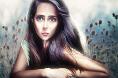 Beautiful woman portrait anime style composite Royalty Free Stock Photography