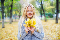 Beautiful woman portrait on autumn background Royalty Free Stock Photography