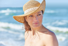 Beautiful woman portrait on the beach Royalty Free Stock Images