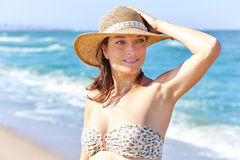 Beautiful woman portrait on the beach Royalty Free Stock Photo